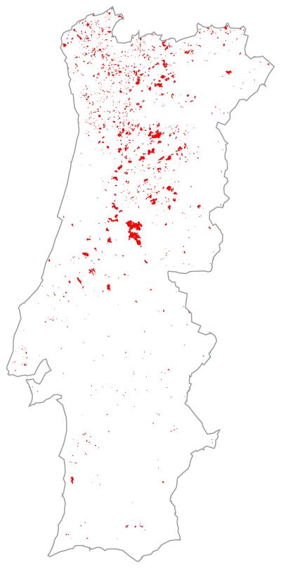 Área ardida em 1990